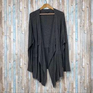 Eileen Fisher 3X Gray Knit Cascading Open Cardigan